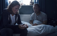 Helen Behan with actor Stephen Graham on set