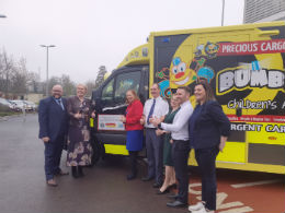 (l to ri) Tony and Mary Heffernan, founders of BUMBLEance; Eilish Hardiman, Chief Executive, CHI,  Dr Ciara Martin, Paul Harding and Helen Flynn, CHI at Connolly.