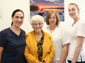 Mae Reilly from Finea, Co Cavan who was a patient in the UHG Coronary Care Unit in 2019 and whose daughters and sons used the Croí Family Room during her stay, with from left: Sinead Duke, Clinical Nurse Manager; and staff nurses Michelle Munnelly and Katie McCormack.