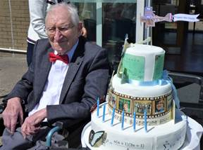 Paddy Mooney, celebrating his 100th birthday at Dunabbey House, Dungarvan, Co Waterford
