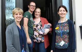 (l to r) Helen Coe, Clinical Midwife Manager,  baby Cadence Fitzgerald with parents Kelly Doheny and Alan Fitzgerald, along with Nicola Molloy, Staff Midwife
