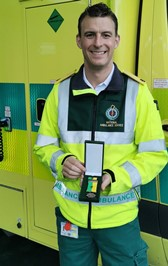 Joe Mooney with his COVID-19 medal which he and his colleagues were presented with by management of the National Ambulance Service for their work throughout the pandemic.