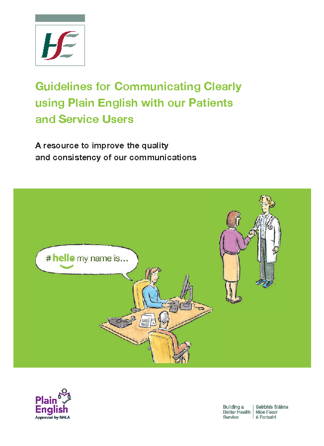 Guidelines for Communicating clearly using Plain English front page preview