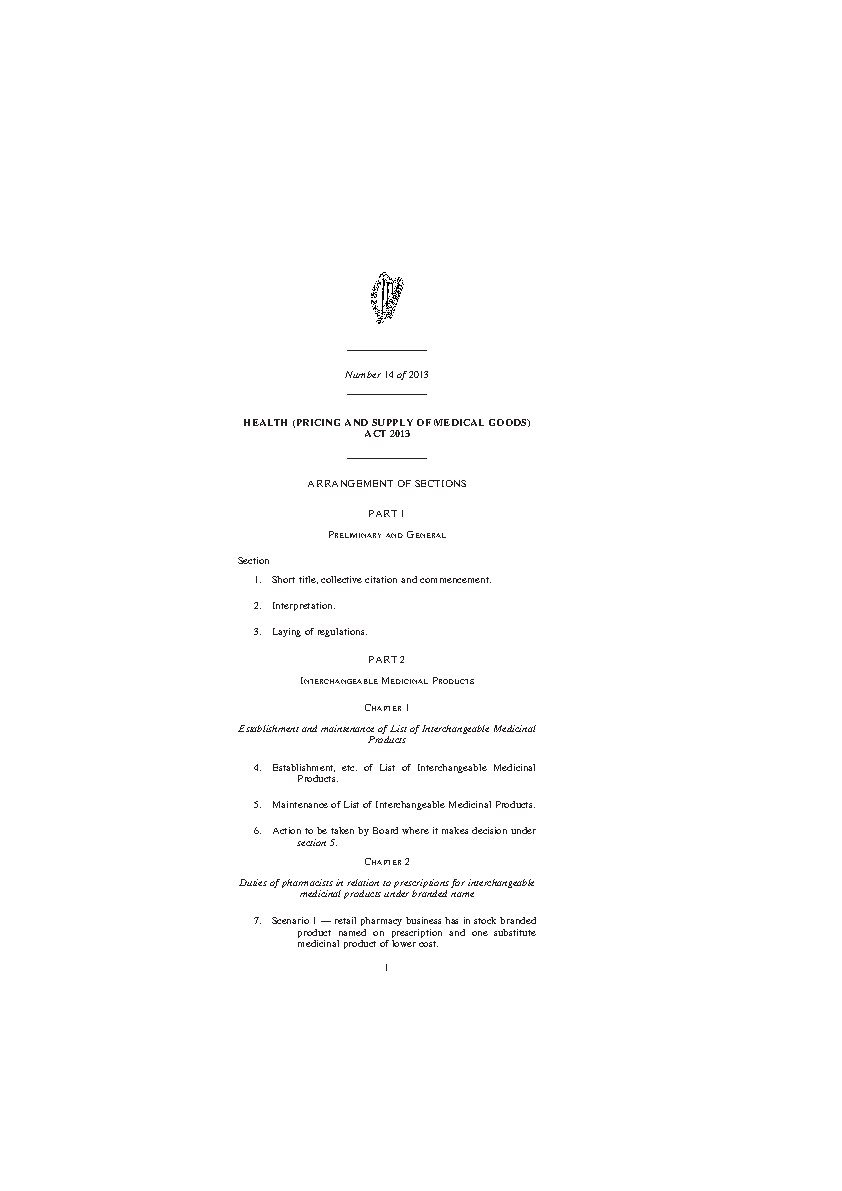 Health (Pricing and Supply of Medical Goods) Act 2013 front page preview