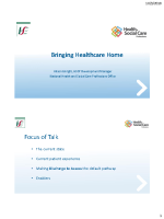 Bringing Healthcare Home - Alison Enright - Presentation front page preview