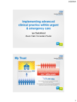 Ian Setchfield Implementing ACP in urgent & emergency care front page preview