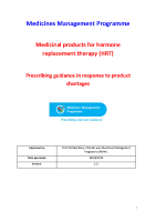 MMP guidance for prescribers on HRT shortages - September 2020 front page preview
