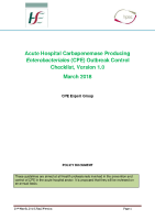 Acute Hospital CPE Outbreak Control front page preview