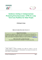 Guidance relating to Carbapenemase producing enterobacterales CPE for Longterm Care Facilities for Older People  front page preview