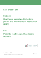 Fact sheet 1: Healthcare associated infections (HCAI) and Antimicrobial Resistance  front page preview