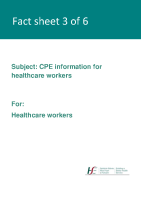 Fact sheet 3: CPE information (for healthcare workers) front page preview