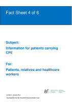 Fact sheet 4: Information for patients carrying CPE  front page preview