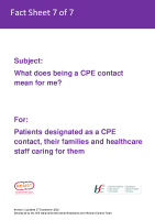 Fact sheet 7: Patients who are CPE contacts, their families and carers front page preview