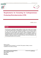 Requirements for Screening for Carbapenemase Producing Enterobacterales (CPE) April 2019 front page preview