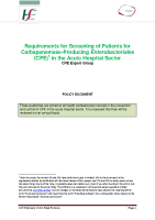 Screening of Patients for CPE  front page preview
