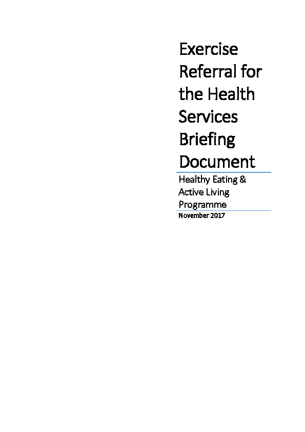 Exercise Referral for the Health Services Briefing Document - Nov 2017 front page preview