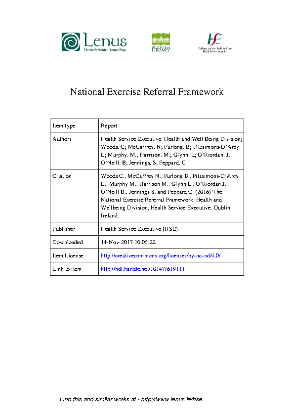 National Exercise Referral Framework front page preview
