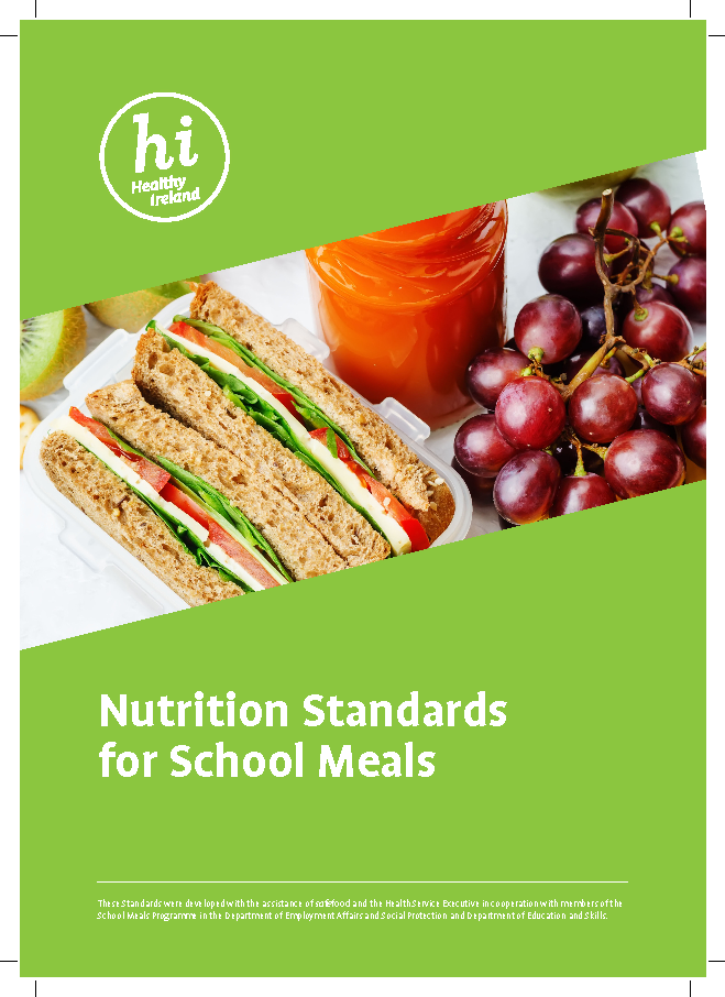 Nutritional Standards for School Meals, 2017 front page preview