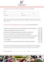Physical Activity Readiness Questionnaire front page preview