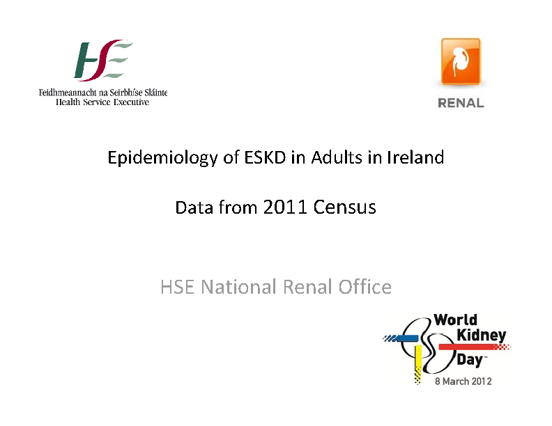 Epidemiology of ESKD in Adults in Ireland - Data from 2011 Census front page preview