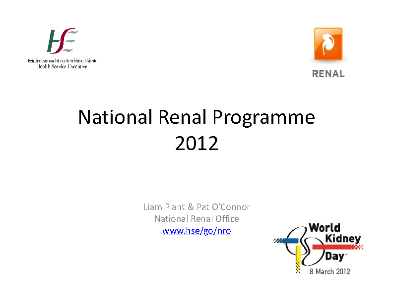 National Renal Programme Update 2012 front page preview