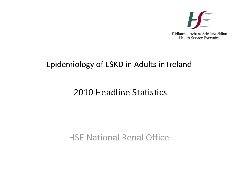 Epidemiology of ESKD in Adults in Ireland 2010 front page preview