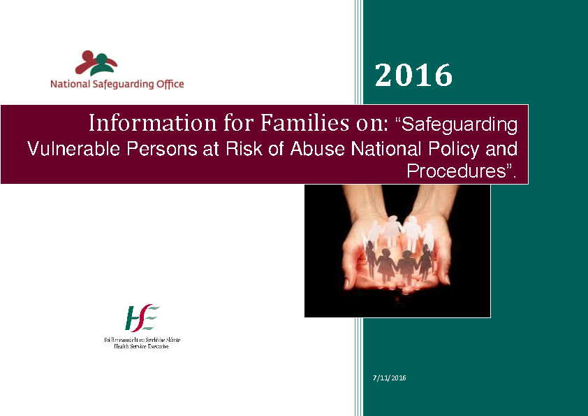 Information for Families on Safeguarding Policy front page preview