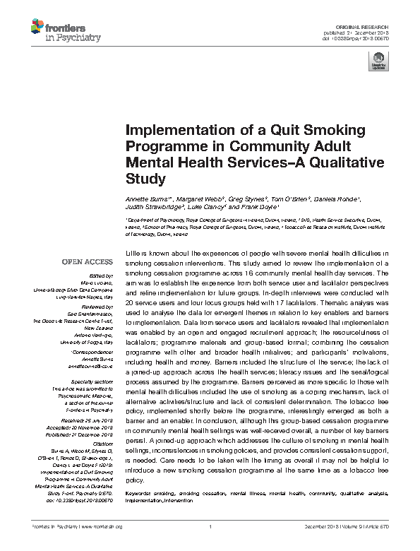 Frontiers Implementation of a Quit Smoking Programme front page preview