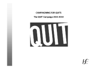 Campaigning for QUITS front page preview