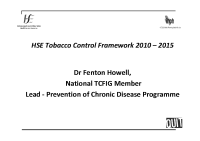 HSE Tobacco Control Framework 2010 to 2015 front page preview