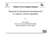 National and International Developments in Tobacco Control Legislation front page preview