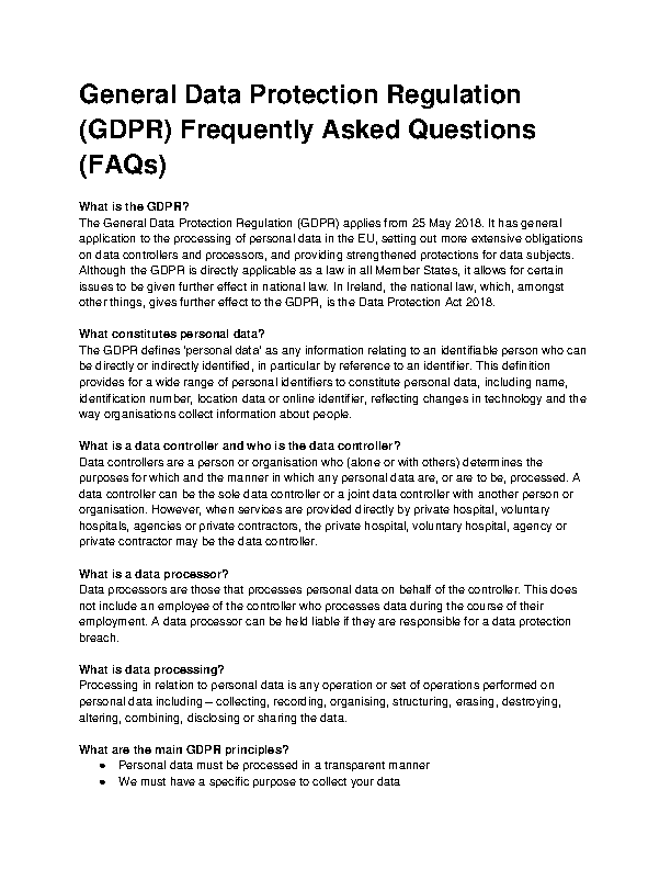 HSE GDPR FAQs Public front page preview
