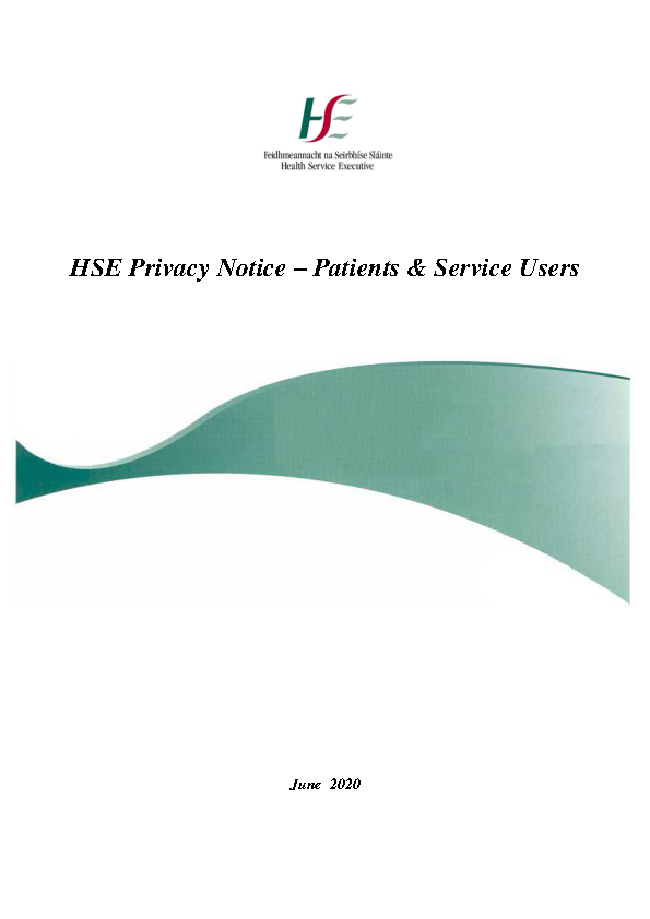 HSE Privacy Notice Service Users front page preview