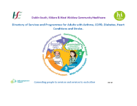 Dublin South, Kildare & West Wicklow Community Healthcare: Directory of Services and Programmes for Adults with Asthma, COPD, Diabetes, Heart conditions and Stroke front page preview