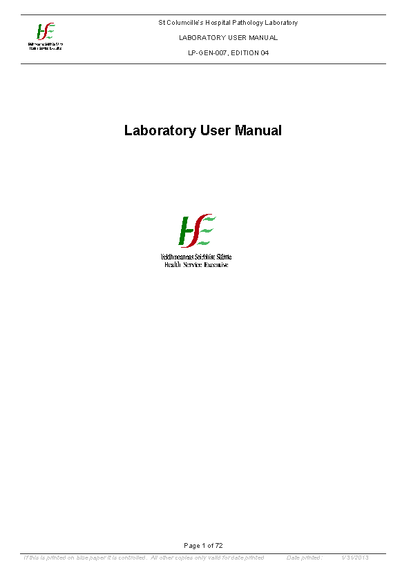 Lab Manual front page preview