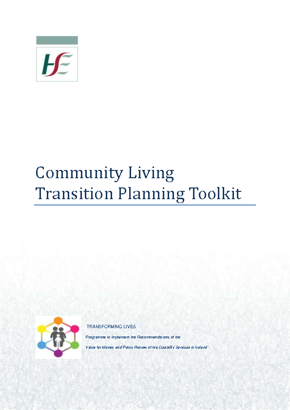 Community Living Transition Planning Toolkit Nov 2018 front page preview