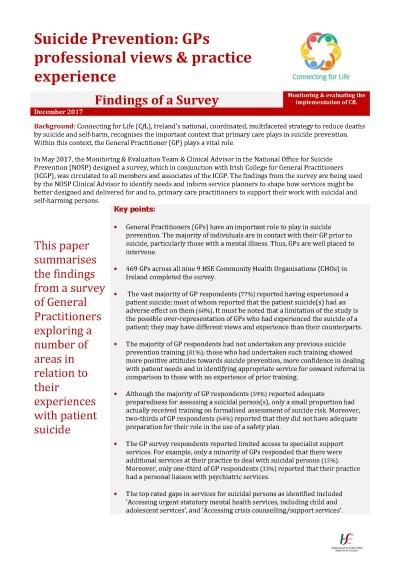 Suicide Prevention: GPs Survey - HSE ie