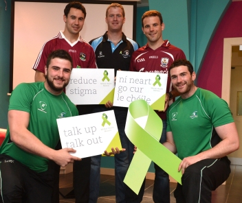 Supporting positive mental health David Nolan Connacht Rugby, Finian Hanley, Galway Football Captain, Brian McClaren, Galwegians Rugby Club, David Collins Galway Hurling Captain and Andrew Browne, Connacht Rugby.
