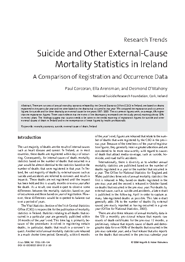 Suicide Mortality Statistics - 2006 front page preview