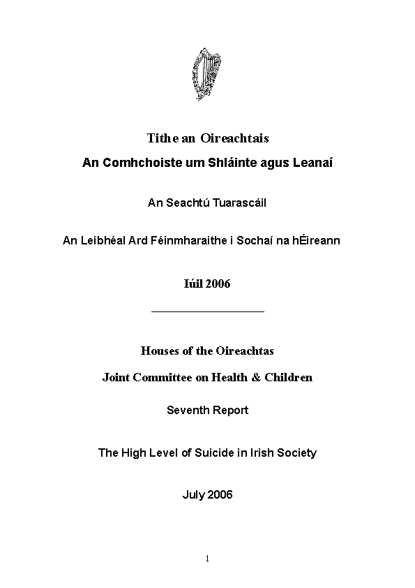 Suicide - Oireachtas Report 2006 front page preview