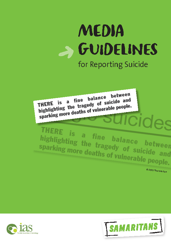 Media Guidelines for Reporting Suicide front page preview