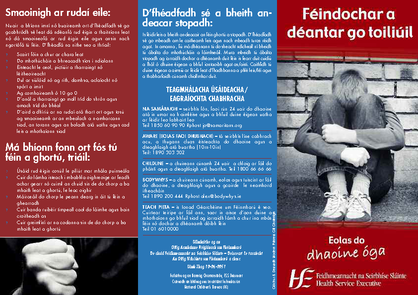 Self Harm Info for Young People - In Irish front page preview