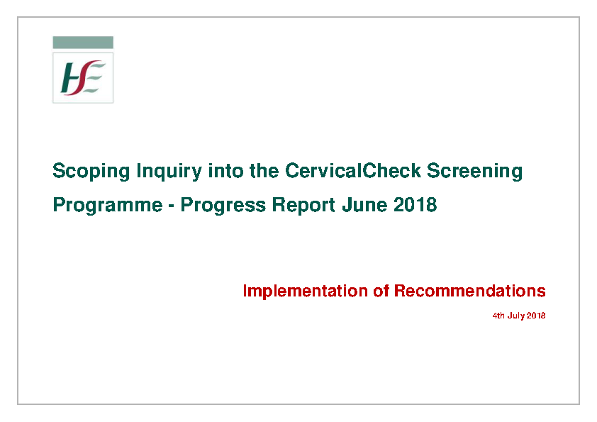 Scally Interim Report Implementation Plan 04 July 2018 front page preview