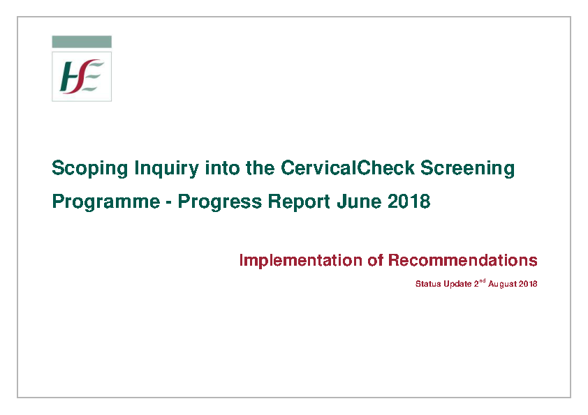 Scally Interim Report Implementation Plan Status 02 August 2018 front page preview