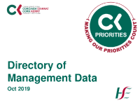 CKCH Directory of Management Data October 2019 front page preview