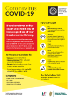 COVID-19 Airport information - English and Irish - (A5 leaflet) front page preview