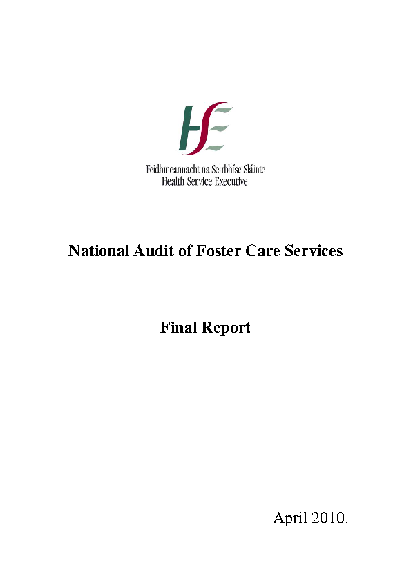 National Audit of Foster Care Services 2010 front page preview