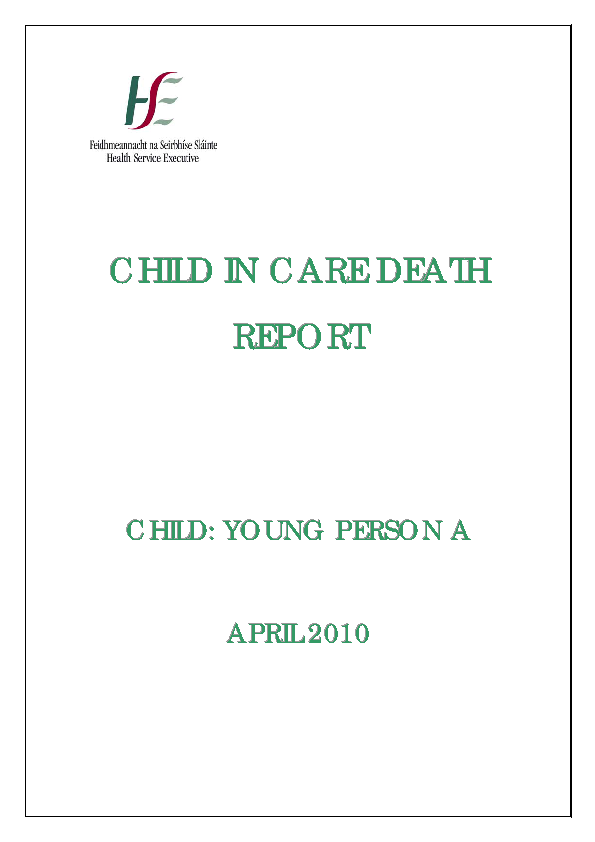 Young Person A - Child In Care Death Report front page preview