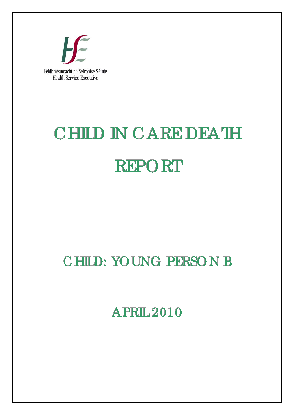 Young Person B - Child in Care Death Report front page preview
