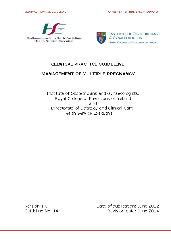 Clinical Practice Guideline Management of Multiple Pregnancy front page preview